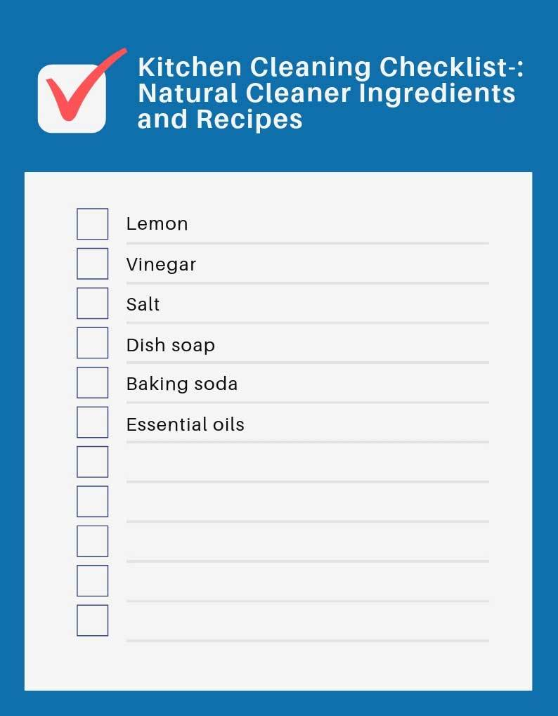 kitchen cleaning checklist using natural ingredients and recipes